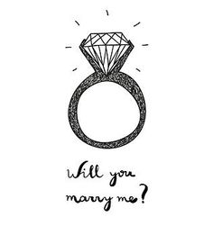 """illustration with engagement ring and text """"will you marry me?"""" by Nine Homes #art, #black, #bride, #calligraphy, #creative, #cute, #diamond, #doodle, #drawn, #engagement, #female, #gem, #hand, #happy, #jewel, #jewelry, #marriage, #marry, #postcard, #proposal, #ring, #sketch, #text, #wedding, #you"""