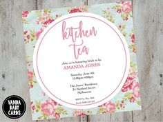 Kitchen Tea / Bridal Shower Invitation Floral by VandaBabyCards Bridal Shower Tea, Floral Baby Shower, Floral Invitation, Printable Invitations, Bridal Shower Invitations, Birthday Invitations, Invites, Diy Photo Booth, Flower Designs