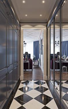 (april on Behance Flur Design, Küchen Design, House Design, Apartment Interior Design, Modern Interior Design, Black And White Tiles Bathroom, Apartment Entryway, Modern Hallway, Hallway Designs
