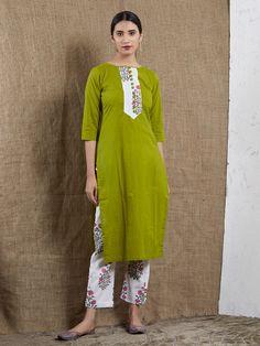 Green Cotton Mulmul Kurta with Hand Block Printed Pants- Set of 2 Green Cotton, Cotton Silk, Denim Kurti, Kurta With Pants, Classic Suit, Saree Dress, Kurta Designs, Indian Ethnic Wear, Indian Designer Wear