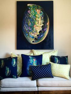 Shoal Cape Abalone painting and coastal pillow collection. Hamptons Decor, The Hamptons, Interior Design Themes, Coastal Art, Cape, Barefoot Contessa, Tapestry, Throw Pillows, Unique