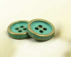 Cyan Painted Thicken Metal Buttons , Antique Brass Color , 2 Holes , 0.59 inch , 6 pcs by Lyanwood, $5.00