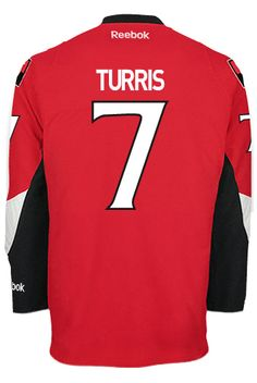 Ottawa Senators Kyle TURRIS #7 Official Home Reebok Premier Replica NHL Hockey Jersey (HAND SEWN CUSTOMIZATION)
