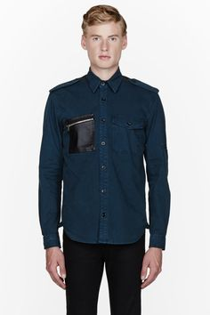 TryAngle Living | Alexander McQueen: Jungle Green Leather Pocket Shirt - TryAngle Living