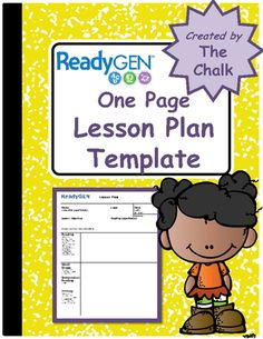 ReadyGen One Page Lesson Plan Template from The Chalk on TeachersNotebook.com (3 pages)
