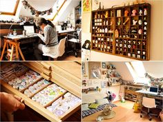 20 Creative Craft Spaces to Inspire Your Own.Karen way studio page New Crafts, Creative Crafts, Craft Room Storage, Craft Rooms, Space Crafts, Craft Space, Sewing Rooms, Spare Room, Creative Studio