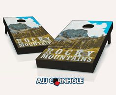"""Rocky Mountains"" Cornhole Set Product Details | AJJ Cornhole"