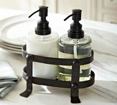 Vintage Blacksmith Soap/Lotion Caddy | Pottery Barn | Would love in a newer-looking, stainless steel finish