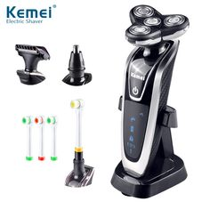 Kemei Electric Shaver Four Knife Head Washing Men Razor Barber Nose Trimmer Electric Toothbrush Multifunctional Machine Body LED #Affiliate