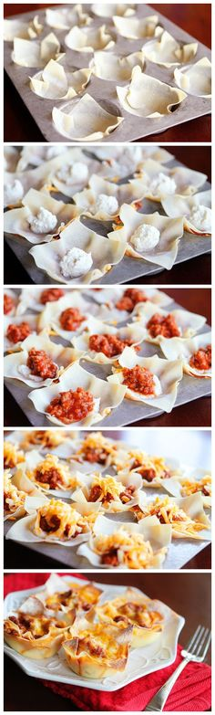 Mini Lasagna Cups - don't click through, the site doesn't give you the recipe. . . just the picture of how-to that is interesting. Use you...