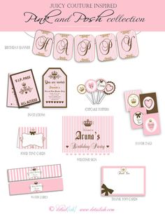 Juicy Couture Inspired Birthday Party Collection Pink by Detailish, $45.00