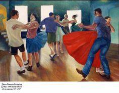 Contra Dance painting by Sarah Davis. Balance and swing! Kinds Of Dance, Dance World, Dance Paintings, Country Dance, Ballroom Dancing, Dance Art, Time Art, Contra Dancing, Tie Dye Skirt