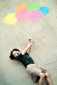 """I love sidewalk chalk! If it's nice outside, let the kids get their """"Sillies out"""" on the driveway. Chalk Photography, Family Photography, Children Photography, Photography Ideas, Chalk Photos, Balloon Pictures, Chalk Design, Sidewalk Chalk Art, Thing 1"""