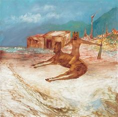 Sidney Nolan (Australian, Kelly and Horse, Oil on board, 122 x 122 cm. Australian Painting, Australian Artists, Sidney Nolan, Sheffield City, Pacific Rim, City Art, Art Auction, Figure Painting, View Image