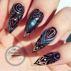 50 Easy Stiletto Nails Designs and Ideas - Pepino Nail Art Black Stiletto Nails, Sexy Nails, Hot Nails, Hair And Nails, Winter Nail Designs, Nail Art Designs, Stiletto Nail Designs, Gorgeous Nails, Pretty Nails