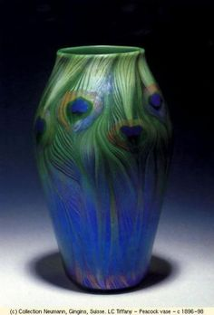 Peacock Vase, by LC Tiffany, c. 1896-1898.