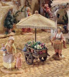 "Roman Fontanini 5"" Christmas Nativity Village Flower Cart"