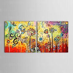 Pintada a mano Floral/Botánico Dos Paneles Lienzos Pintura al óleo pintada a colgar For Decoración hogareña - USD $94.99 ! ¡Producto DESTACADO! ¡Tenemos un producto destacado a increíble precio bajo! Venga a ver este y otros artículos parecidos. ¡Consiga descuentos, recompensas y mucho más siempre que compre con nosotros!