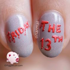 Today is Friday the Time for a good horror movie and all the scary stuff ; Today Is Friday, Happy Friday The 13th, Best Horror Movies, Macro Shots, Best Horrors, Scary Stuff, Holiday Nails, Nail Artist, Halloween Nails