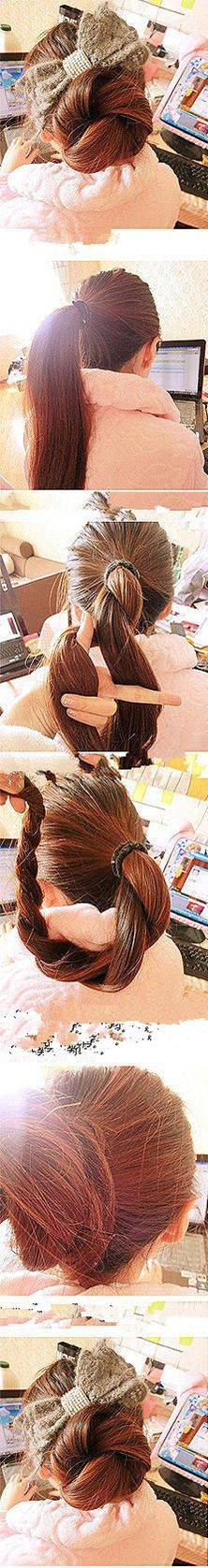 long hair, hair beauty, longer hair, sock bun, burlap bows, hairstyl, twist bun, big bows, hair buns