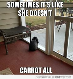 Sometimes it's like she doesn't carrot all.