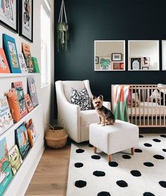 Non-traditional, colorful nursery design for both boy and girl baby's with links to all of the items! I hope this inspires you in your own nursery designs! Baby Bedroom, Baby Boy Rooms, Baby Room Decor, Baby Boy Nurseries, Nursery Room, Kids Bedroom, Guest Room And Nursery Combo, Nursery Office Combo, Apartment Nursery