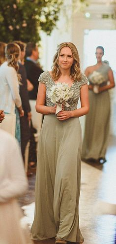 Simple V-neck Short Sleeve Chiffon Sequin Long Bridesmaid Dresses.DB10836 Long Bridesmaid Dresses, Wedding Dresses, Spring Festival, Famous Brands, Fabric Swatches, Dream Dress, Dress Making, Custom Made, Chiffon