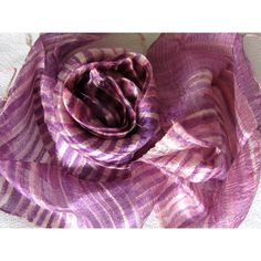 Lilac Silk Scarf Hand Dyed Handwoven Natural Pure Raw Silk Wedding... ($16) ❤ liked on Polyvore featuring accessories and scarves