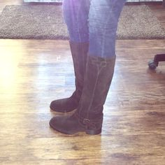 Vero Cuoio Brown Suede Boots Deep chocolate brown suede, with a gold buckle around ankle and top of boot. Boots slip on; no zipper. Light wear, with very small scuff mark at toe, shown in picture - can be removed. Perfect boots and would love to keep them but they are way too tight on me! ): Vero Cuoio Shoes Winter & Rain Boots