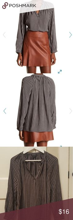 Lucky Brand Checked Peasant Top Recently purchased from Nordstrom!  Super soft and cute, the color is just not complementary for me.  Worn once, so perfect condition. Lucky Brand Tops Blouses