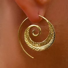 Brass Earrings Brass Spiral Earrings Gypsy Earrings by RONIBIZA
