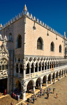 The 14th Century Gothic style eastern facade of The Doges Palace on St Marks Square, Palazzo Ducale, Venice Italy