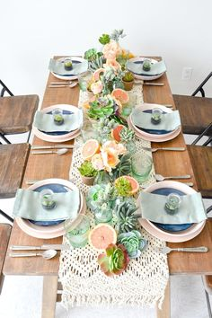 Mother's Day Boho Citrus Tablescape Kara's Party Ideas Mother's Day Boho Citrus Tablescape Boho Themed Party, Christmas Party Themes, Holiday Tables, Mothers Day Brunch, Party Table Decorations, Spring Party, Sweet 16 Parties, Super Party, Bbq Party