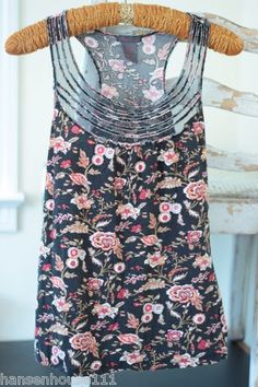 Fire Black Floral Tank Top Sleeveless with Mesh Trim (S) Available Ebay: hansenhouse111