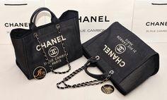 """กระเป๋า Chanel Deauville Tote Bag with Handle in Jean (size 15"""") ของใหม่พร้อมส่งค่ะ!! - Iris Shop"""