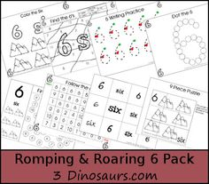 Free Romping & Roaring Number 6 Pack - coloring pages, playdough mats, counting, tracing and more 39 pages great for ages 3 to 6 or 7
