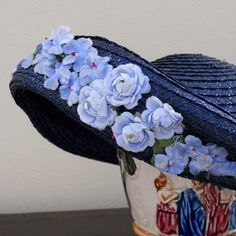 Midcentury Blue Straw Garden Hat