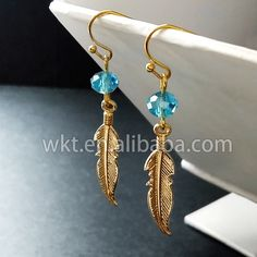 Natural metal leaf earrings with 24k real gold plated
