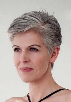 Salt and pepper gray hair. Grey hair. Silver hair. White hair. Granny hair don't care. No dye. Dye free. Natural highlights. Aging and going gray gracefully. Short hair. Pixie haircut.