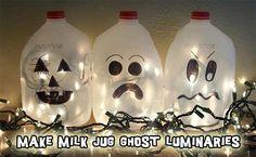halloween milk jug ghosts Recycled Craft:  Glowing Ghosts from Plastic Milk Jugs
