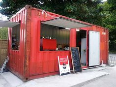 Shipping Container Cafe, Container Homes, Shipping Containers . Café Container, Container Coffee Shop, Container Design, Shipping Container Restaurant, Used Shipping Containers, Shipping Container Homes, Container Buildings, Container Architecture, Shipping Container Conversions