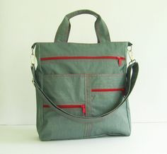Add 1 more get 10 off  Grey WaterResistant Nylon Bag  by tippythai, $44.00