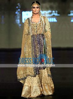 Beige n Honey Dew Bridal Shirt n Flared Sharara Fahad Hussayn Couture