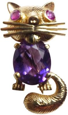Mid-Century 14K Yellow Gold, Amethyst and Ruby Cat Brooch