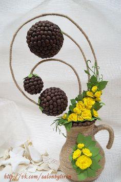 Топиарий с кофейными зернами и фоамираном Coffee Bean Art, Coffee Beans, Fall Crafts, Diy And Crafts, Styrofoam Crafts, Diy Fashion Hacks, Make Design, Ikebana, Creative Crafts