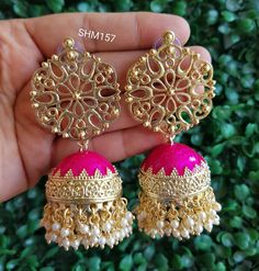 Style is reflection of your attitude 😍 make a statement with this beautiful statement earrings only from 💗 . Gold Jhumka Earrings, Indian Jewelry Earrings, Indian Jewelry Sets, Filigree Jewelry, Jewelry Design Earrings, Gold Earrings Designs, Ear Jewelry, Designer Earrings, Jewelry Patterns