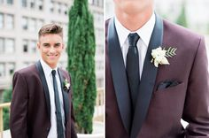 Burgundy Tux   Modern groom inspiration   Boutonniere by Native Poppy   Photography by Whiskers and Willow Photography