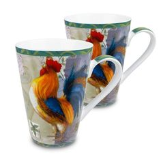 Konitz 'Morning Star' Rooster Porcelain Mugs (Set of Multi (Geometric) Irish Coffee Mugs, Coffee Cups, Tea Cups, Colorful Feathers, Bird Feathers, Rooster Kitchen, Precious Moments Figurines, Santas Workshop, Morning Star