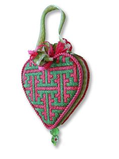Kate Dickerson Mini Heart - Chinoiserie Lattice, finished w/ glass beads & ribbons