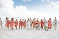 Coral and Khaki beach wedding Carillon Beach wedding www.dearwesleyann.com